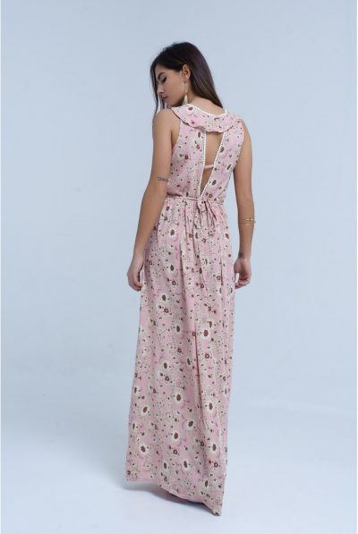 BACK OF FLORAL MAXI DRESS