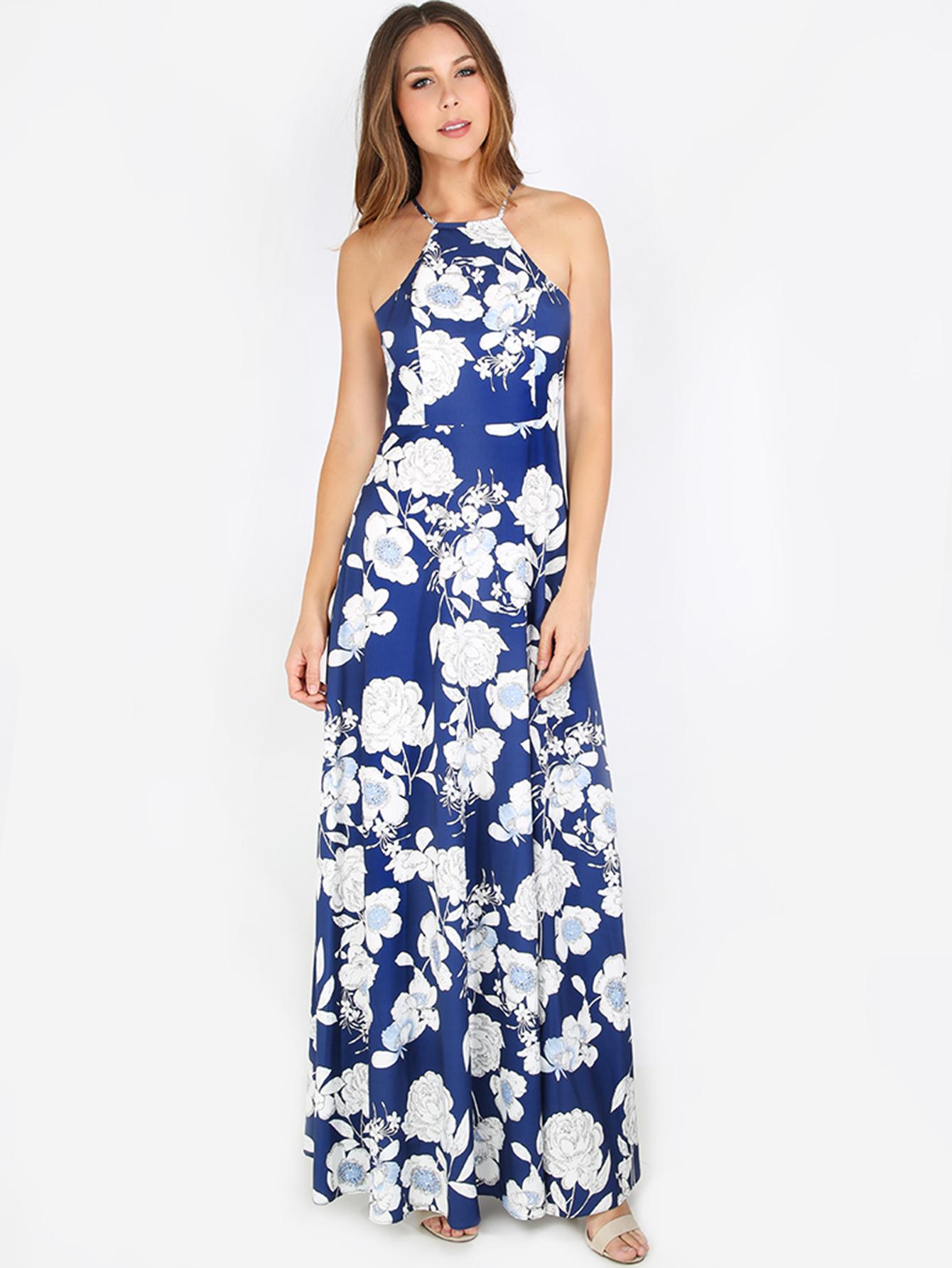 Cobalt blue halter maxi dress