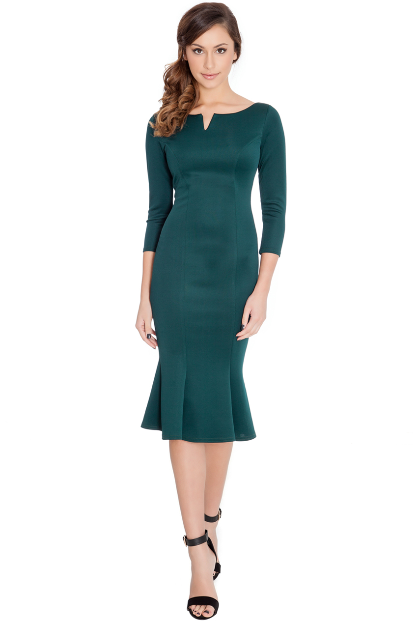 Fluted Hem Dress In Emerald Green Berry