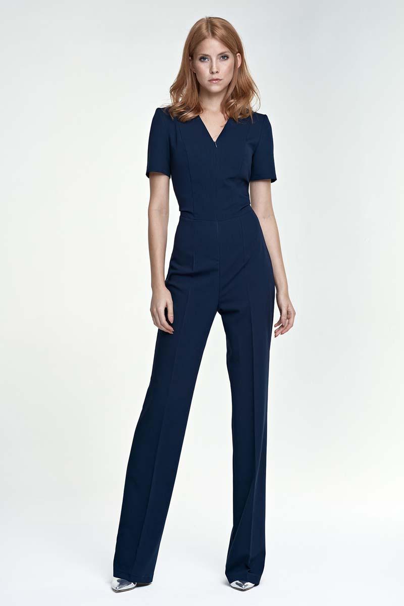 dark blue elegant short sleeves jumpsuit