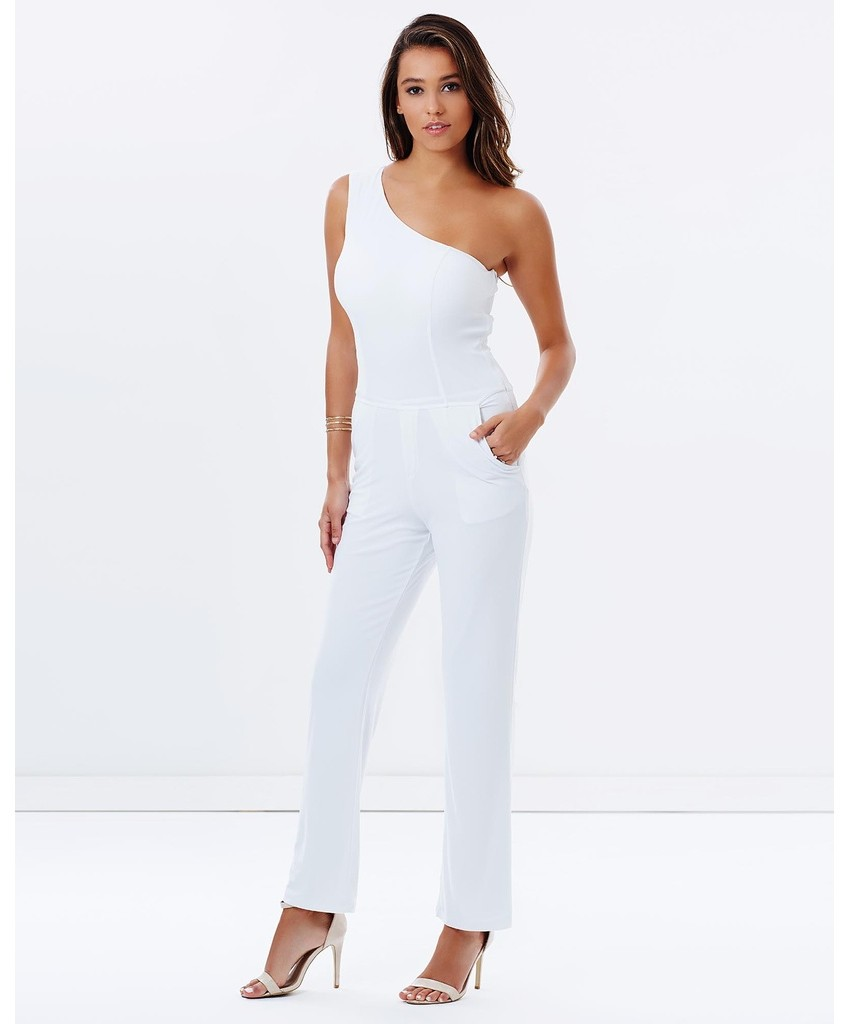 White One Shoulder Jumpsuit By Skiva