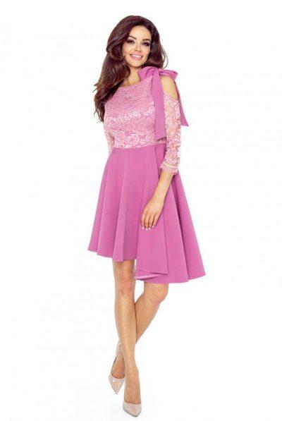 Purple off shoulder lace dress