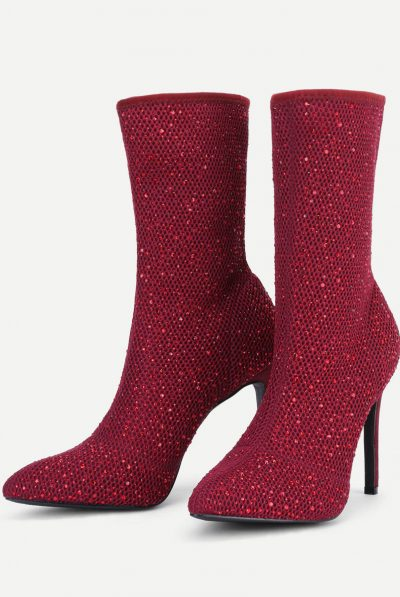 Rhinestone boots red