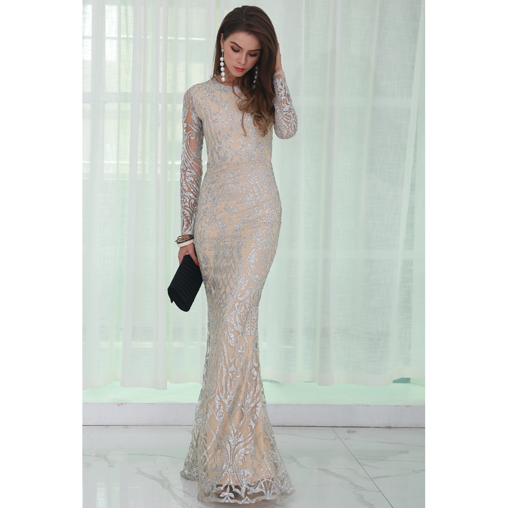 Silver & Nude Intricate Evening Gown