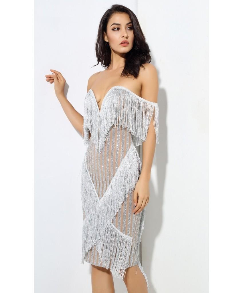 Silver Sparkle Fringe Party Dress