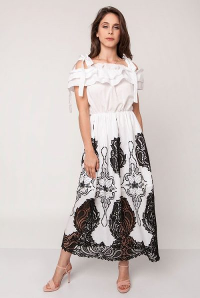 WHITE AND BLACK MAXI DRESS