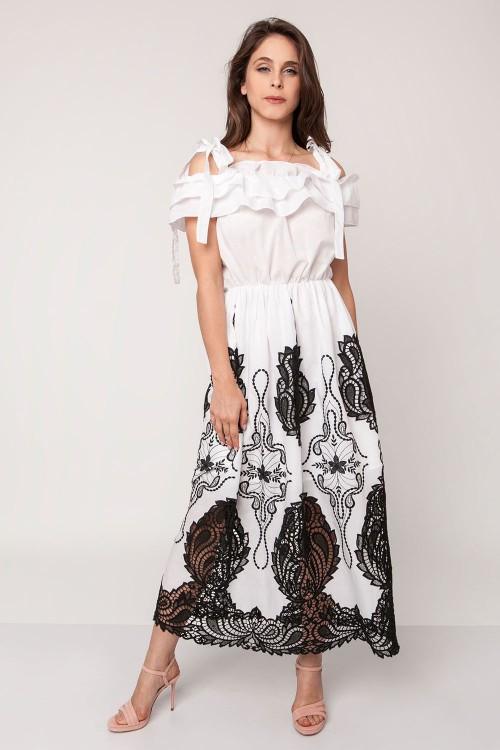 WHITE AND BLACK MAXI DRESS