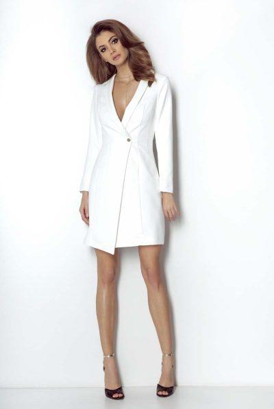 WHITE BLAZER DRESS BUTTON