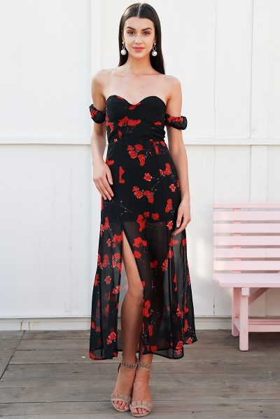 black padded rose dress