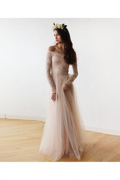 blush off shoulder dress 5