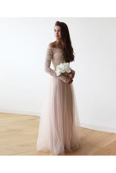 blush off shoulder lace gown