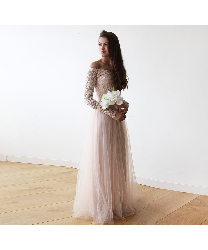 Blush Off-The-Shoulder Lace and Tulle gown