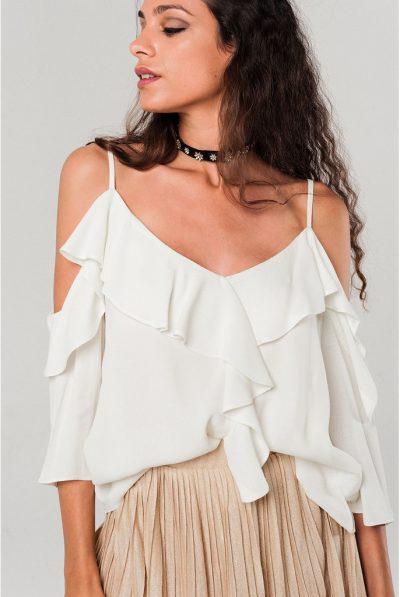 cold shoulder white top