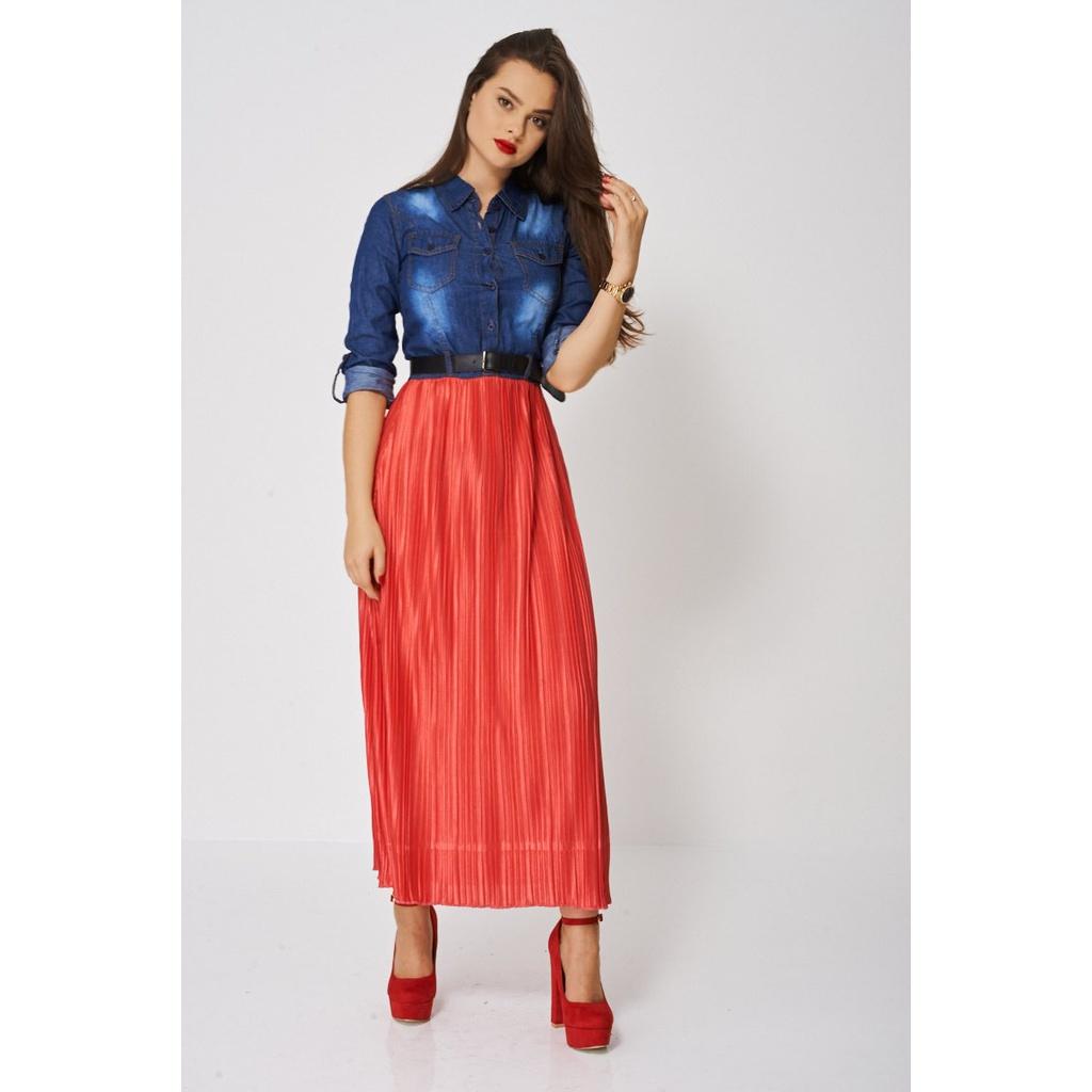 5fc53dbfd08 Denim top maxi dress with red pleated skirt jpg 1024x1024 Pleated denim  dress