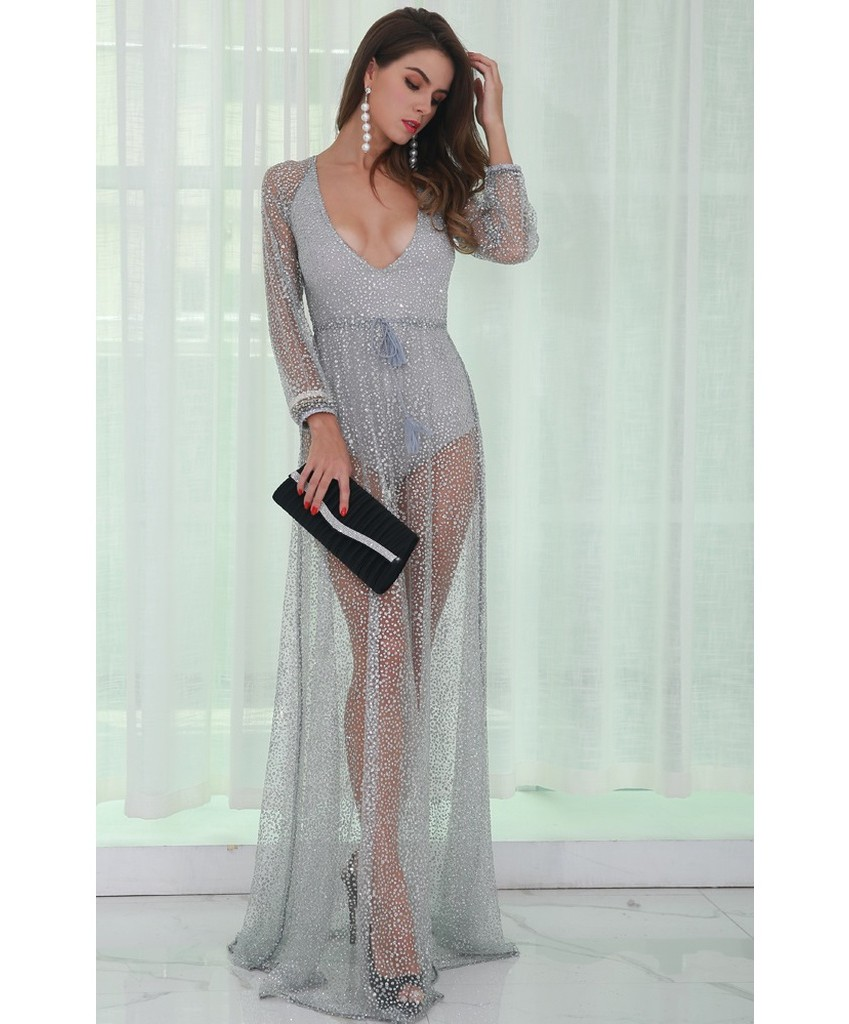 Silver Glitter Backless Gown