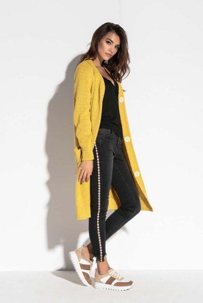 mustard cardigan x