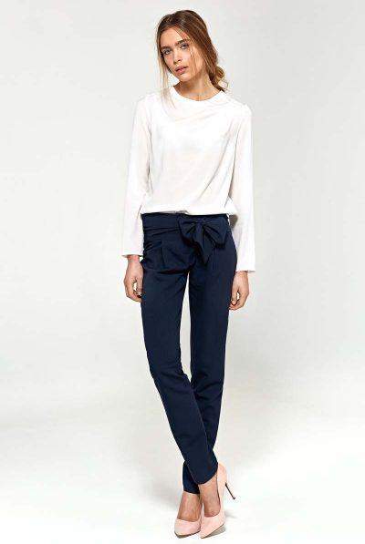navy bow trousers