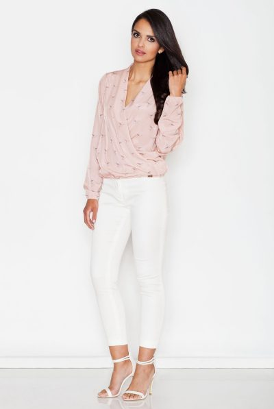 pink cross over blouse