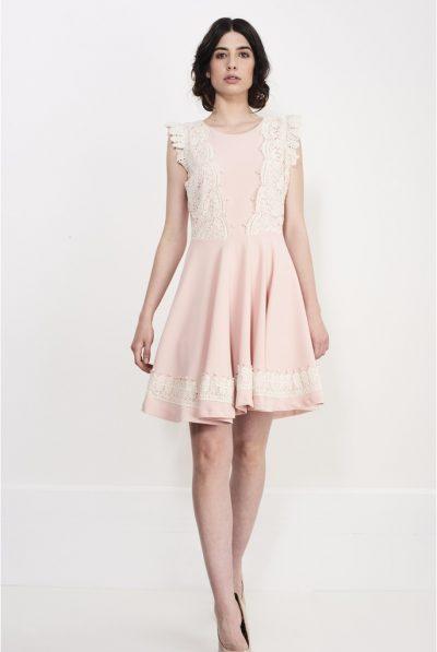 pink flying shoulder dress