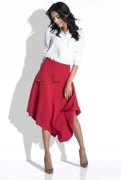 red asymetirical skirt