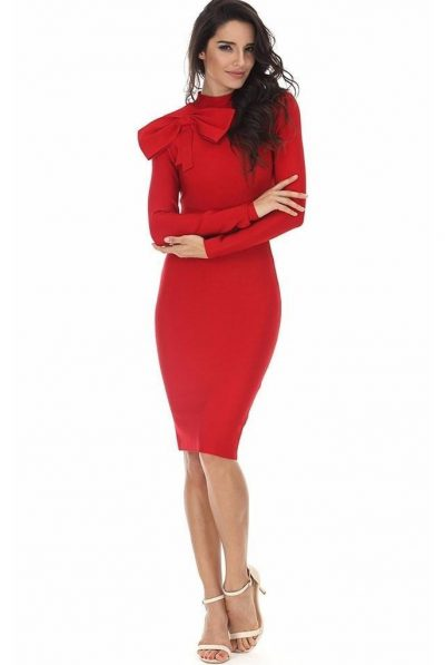 red bow bandage dress