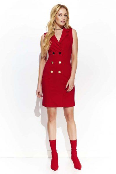 red buttons blazer dresss