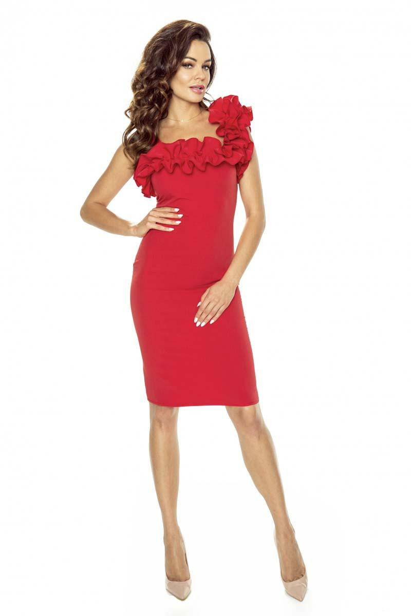 Red Off-Shoulder Frill Dress- Available in Black