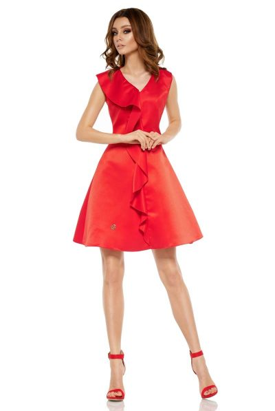 red satin frill