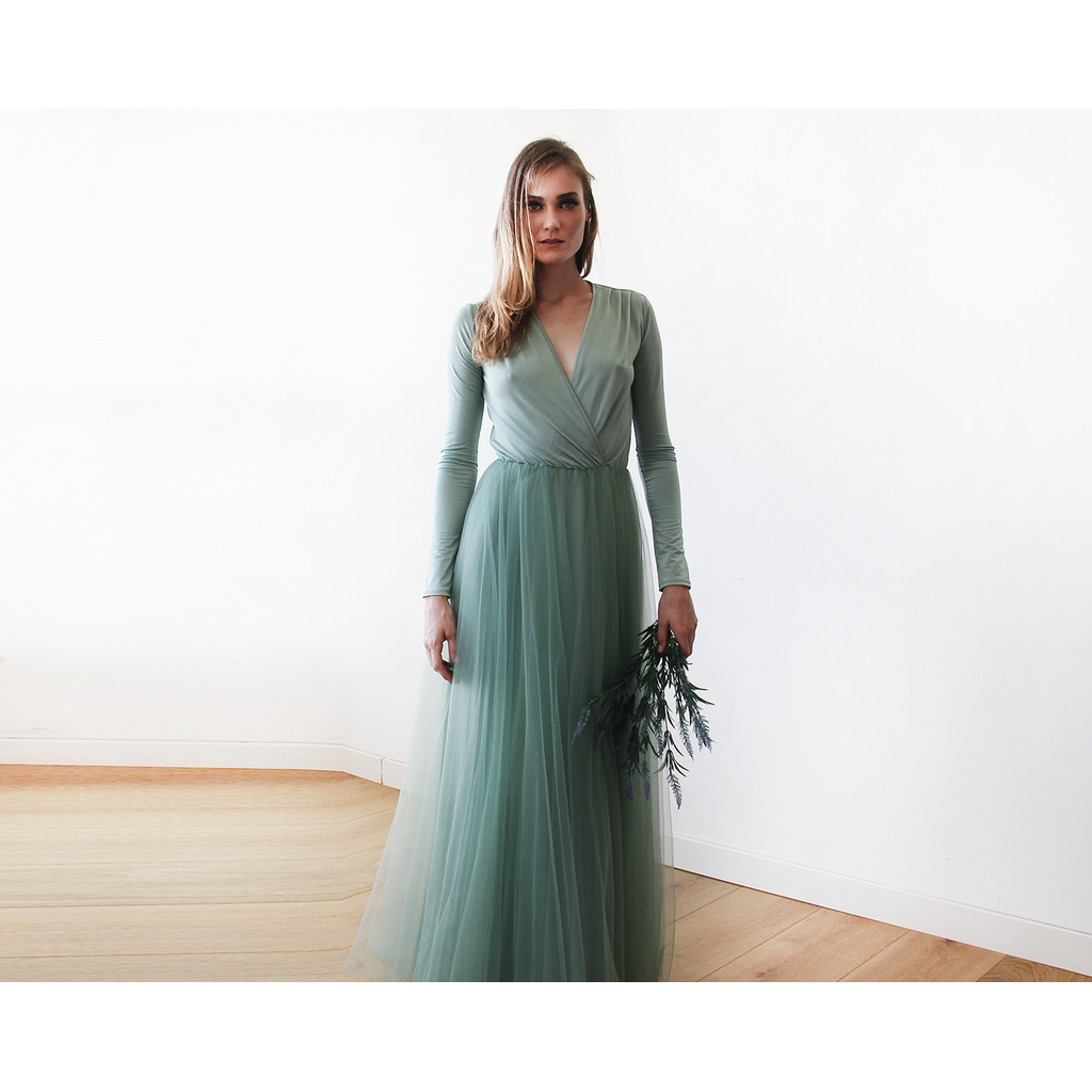 Sage green tulle maxi bridesmaid dress ombrellifo Image collections
