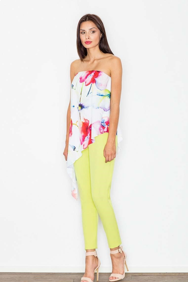 Two Pieces Jumpsuit Flowered Top And Yellow Plain Bottom