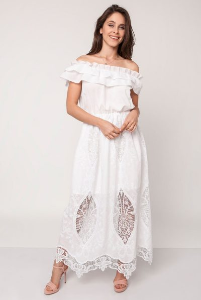 white off shoulder maxi