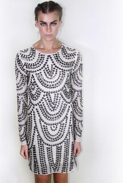 white silk crepe dress