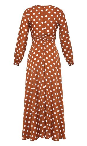 BACK OF BROWN POLKA DRESS