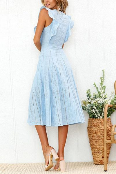 BLUE FRILL CIRCLE DRESS