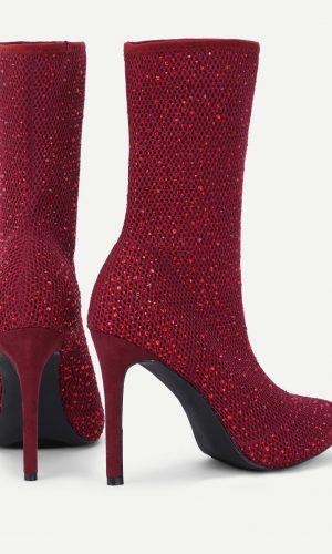 Back rhinestone boots