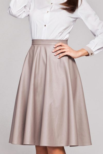 Beige leather skirt 6