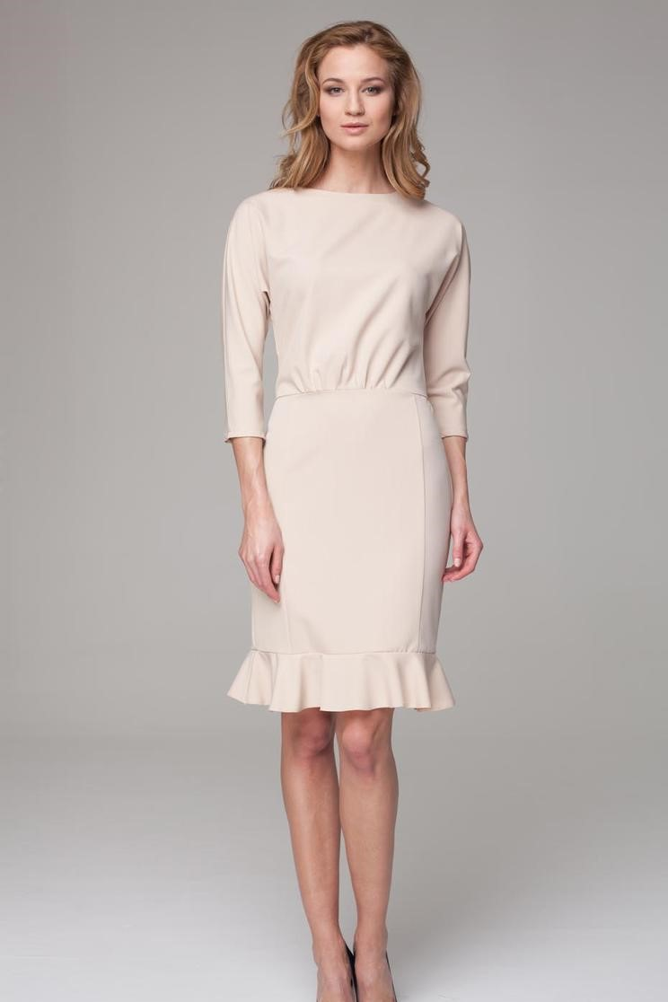 Beige 3 4 Sleeves Frilled Midi Dress