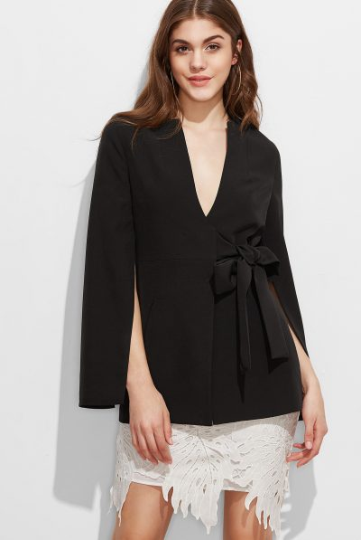 black-split-sleeve-bow-blazer