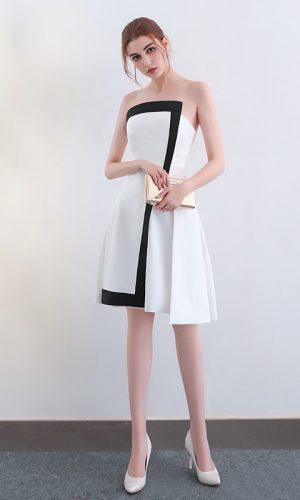 9821b850e4e Monochrome Satin Asymmetrical Dress