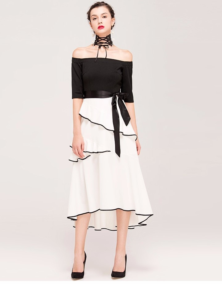 Ruffle Dress with Belt