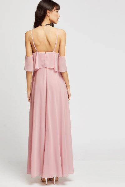 Cold shulder pink dress back