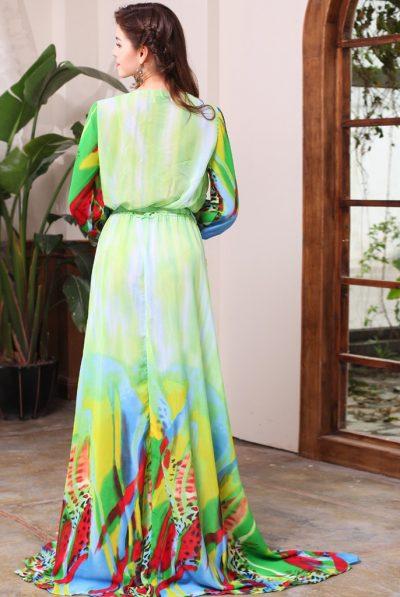 Green print maxi dress 56
