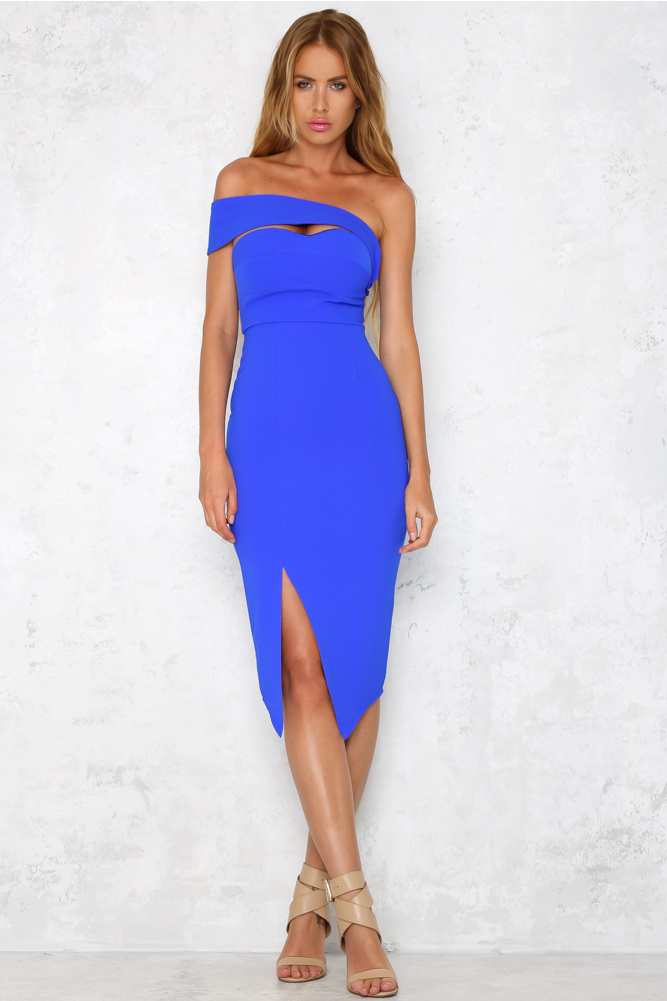 b8092c86f238 Falling In Love Cobalt Midi Dress