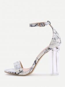 Marble print patent sandal
