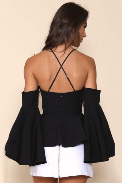 Miss chic cold shoulder top back