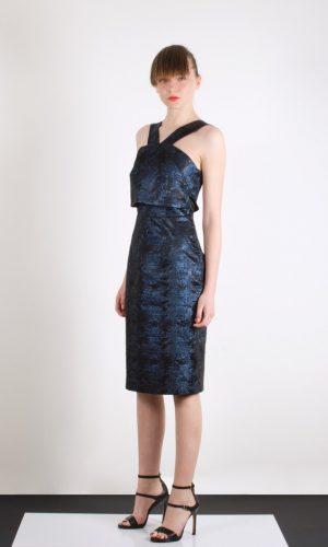 639530deed9 Rosica Navy Metallic Dress