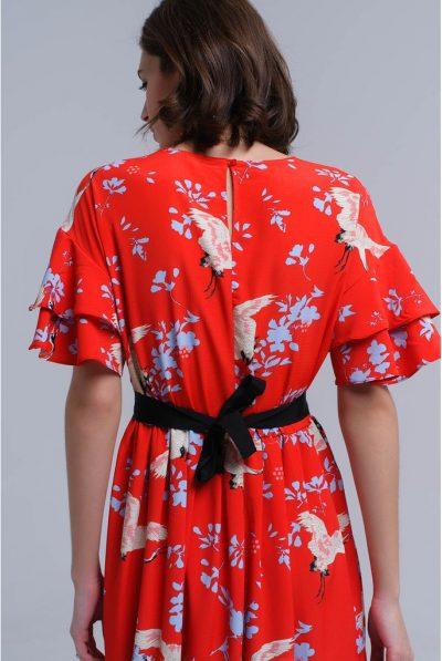 Red printed dress back tie