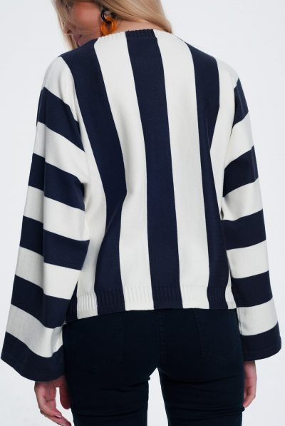 Scoop-neck-sweater-in-mono-stripe-in-navy