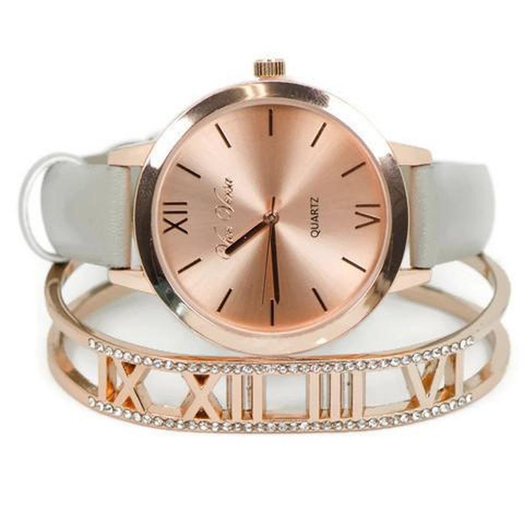 Sparkle Amp Jade Rose Gold Grey Watch Amp Roman Numeral Bangle Set