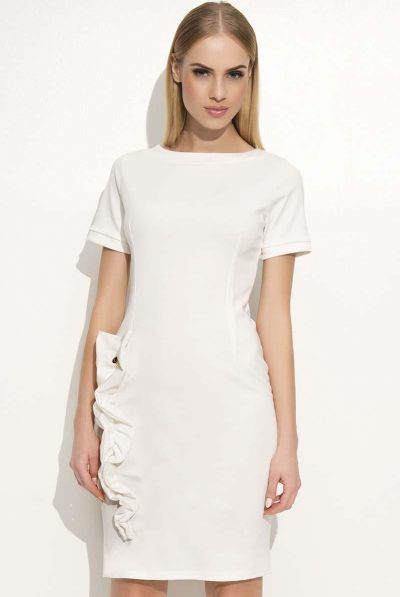 WHITE FRILL DRESS BACK